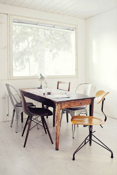 salle-a-manger-style-recup-table-bois-chaises-coque-Tolix-bureau