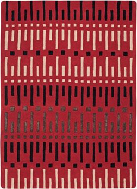 UnTapis laine et soie rouge pour mettre la dernière touche à la déco de la chambre rouge. Avec un lampe de chevet, une couette qui reprend la couleur, c'est le top ! Tapis Serge Lesage dimensions : 160X230 cm