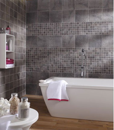 Carrelage mural salle de bain gr s c rame gris leroy merlin for Photo carrelage salle de bain