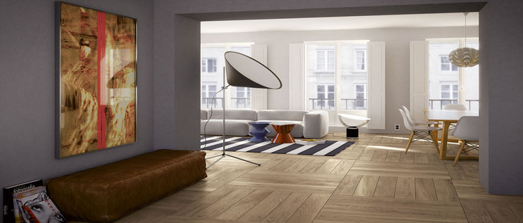 Carrelage imitation parquet sol dans salon design for Parquet pour salon moderne