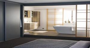 cloison amovible séparateur d'espace fixation par vérins ou rail coulissant pour chambre, suite parentale et séparer cuisine du salon