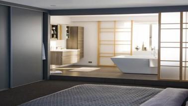Cloison amovible, séparateur d'espace avec fixation par vérins ou rails coulissants pour chambre, suite parentale et séparer cuisine ouverte sur le salon