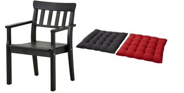 fauteuil jardin angso coussins rouge noir ikea. Black Bedroom Furniture Sets. Home Design Ideas