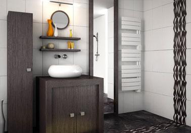 Radiateur sèche-serviette petite largeur : 45cm inertie fluide thermostat électronique 500W Sauter