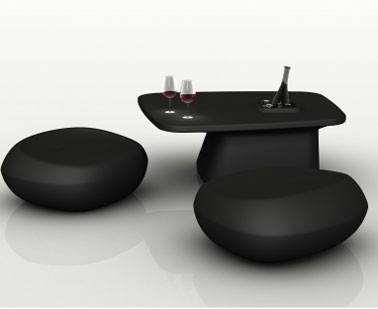 Salon de jardin design pouf galet table basse noir for Salon de jardin geant