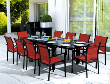 salon de jardin table 10 chaises rouge noir la redoute. Black Bedroom Furniture Sets. Home Design Ideas