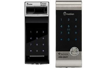 Sécurité maison avec serrure biometrique à reconnaissance digitale I-Motion de Vachette. mémorise 20 empreintes. Ouverture par code également
