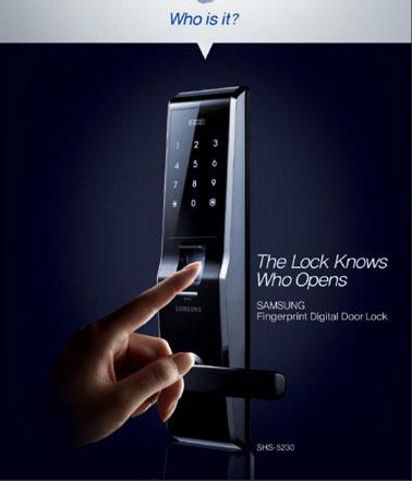 Serrure biométrique à reconnaissance digitale. capacité de 100 empreintes, 10 mots de passe. Samsung Ezon