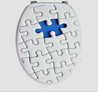 Sticker abattant wc, puzzle blanc et bleu
