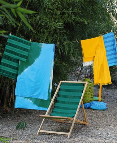 Toile de transat jardin teint avec teinture tissu couleur vert émeraude Idéal