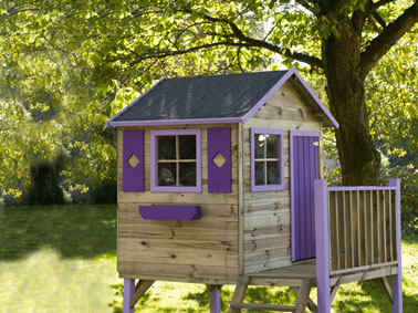 cabane en bois sur pilotis porte fen tre violet. Black Bedroom Furniture Sets. Home Design Ideas