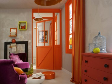 couleur peinture salon gris effet m tal et orange. Black Bedroom Furniture Sets. Home Design Ideas