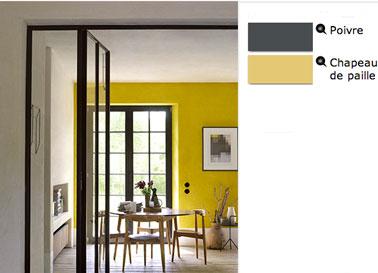 salle à manger couleur peinture jaune moyen sur murs et gris poivre pour encadrements fenêtres et boiseries