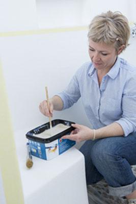 m langer peinture sp ciale salle de bain avec baguette bois. Black Bedroom Furniture Sets. Home Design Ideas