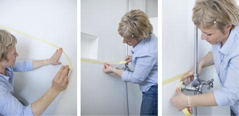 Avant de peindre la salle de bain et la douche délimiter les surfaces qui vont recevoir la peinture avec du ruban à peindre