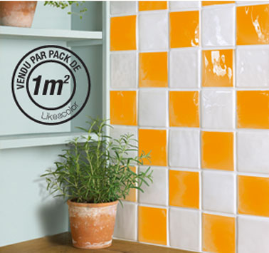 Stickers pour carrelage cuisine Sticolors couleur orange de LIKEACOLOR, nuancier 50 couleurs