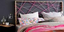 idee tete de lit originale a faire soi-meme avec bois, cadre, papier peint, peinture