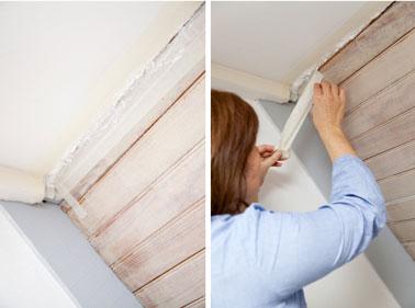 Après le séchage complet de la mousse expansive, retirer le ruban de masquage qui a servi à protéger le mur ou le plafond