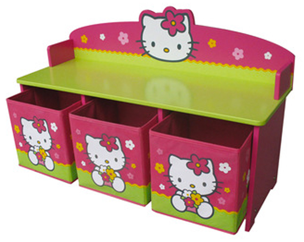 banc coffre chambre fille hello kitti. Black Bedroom Furniture Sets. Home Design Ideas