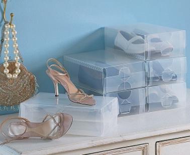 Lot de 15 boîtes pour le rangement des chaussures en pvc transparent et deux faces d'ouverture