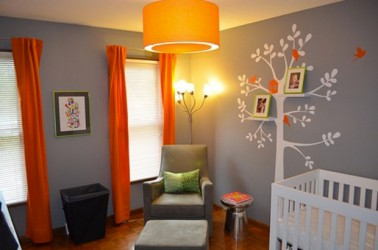 couleur chambre enfant gris orange