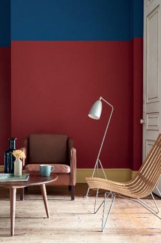 Couleur salon avec peinture teinte rouge et bleu - Agrandir piece avec peinture ...