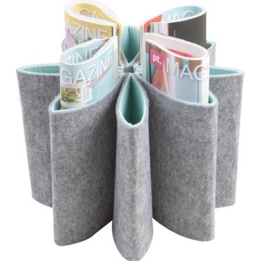 Range revues ou télécommande en feutrine. 8 compartiments et disponible en gris ou vert