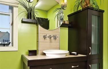 Salle de bain vert anis et marron for Deco salle de bain vert