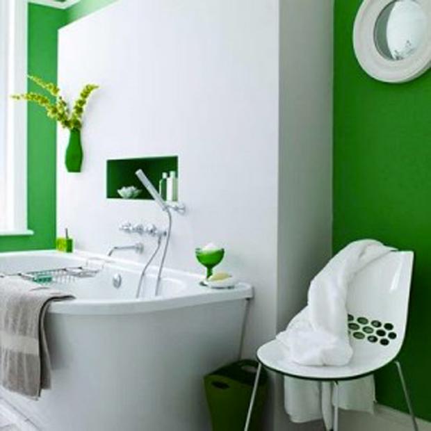 salle de bains design couleur emeraude et blanc