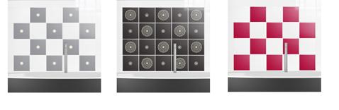 Carrelage adhésif sur murs baignoires : Pola Star Gris , Black Universe Combo et  Plénitude Zen couleur Framboise, Les feuillines de Folii