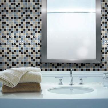 Carrelage adh sif salle de bain on a test c 39 est super - Revetement mural imitation carrelage ...