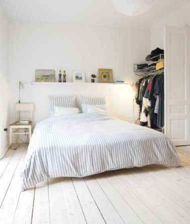 D co chambre adulte blanche en total look for Decoration de lit adulte