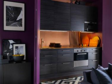 Cuisine noire et prune mod le cuisine ikea for Modele cuisine noire