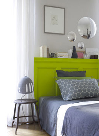d co chambre vert anis et gris. Black Bedroom Furniture Sets. Home Design Ideas