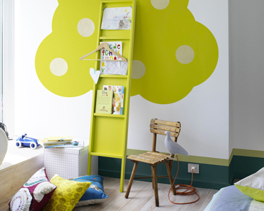 deco chambre enfant couleur vert pomme et gris. Black Bedroom Furniture Sets. Home Design Ideas