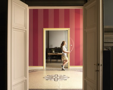 couleur peinture entree bandes de couleur vive rose et framboise. Black Bedroom Furniture Sets. Home Design Ideas