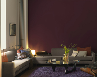 couleur salon chaleureux peinture chocolat lin et violet. Black Bedroom Furniture Sets. Home Design Ideas