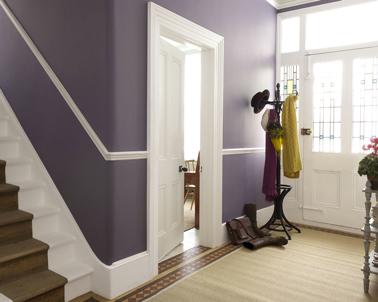 Peinture entrée et escaliers couleur violet et blanc pour une entrée accueillante
