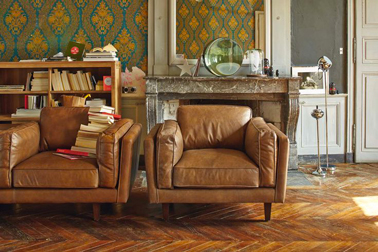 Deco salon vintage fauteuil cuir vachette alinea - Fauteuil de salon en cuir ...