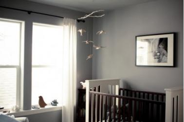 D coration chambre b b peinture murale gris souris - Decoration murale bebe chambre ...