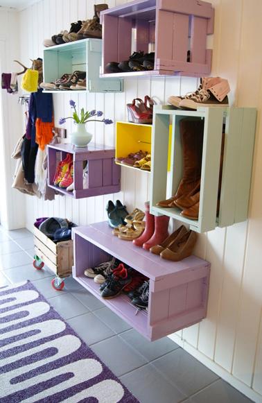 Idée rangement chaussures dans entrée de la maison