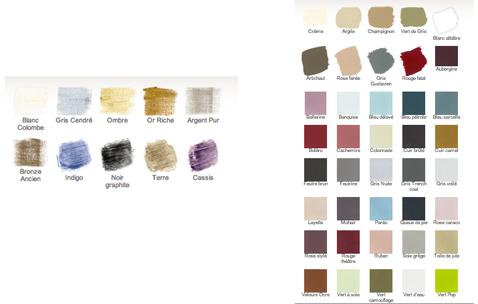Nuancier 40 coloris pour peinture à base de caséine et 10 coloris pour l'effet patine de Libéron