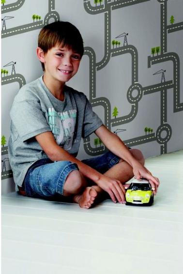 Papier peint intiss chambre enfant circuit voiture ampm - Chambre enfant voiture ...
