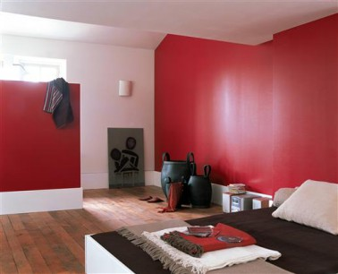 peinture chambre couleur rouge et blanc. Black Bedroom Furniture Sets. Home Design Ideas