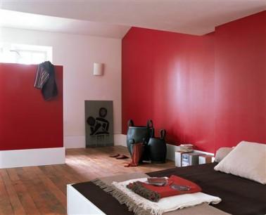 Peinture chambre couleur rouge et blanc - Idee couleur peinture chambre ...