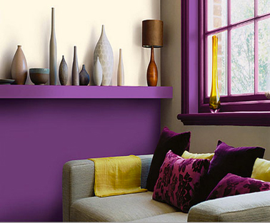 peinture salon couleur prune. Black Bedroom Furniture Sets. Home Design Ideas