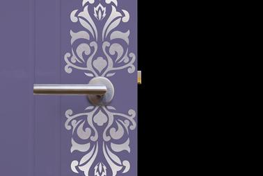 Pochoir plaque de porte peinture metal couleur argent for Peinture couleur argent