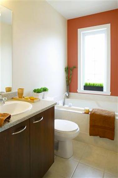 Salle de bain peinture rouge terre sur mur baignoire for Peinture par bain