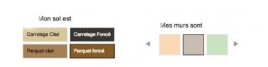 A l'aide du simulateur sélectionner une couleur de peinture pour les meubles de la cuisine ainsi que la couleur du sol.