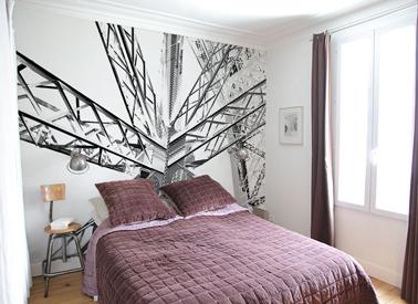 agrandir une petite chambre avec du papier peint en t te de lit. Black Bedroom Furniture Sets. Home Design Ideas